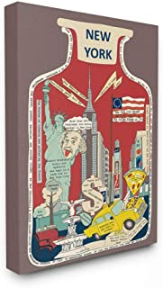 Stupell Industries Vintage Jar New York City Interesting Fun Facts Wall Art, 24 x 30, Brown