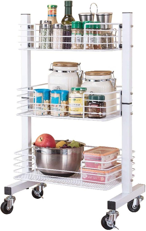 3-Layer Metal Cart Shopping Cart with Wheel Storage Rack Multi-Function Floor-Standing Kitchen Storage Rack Large Capacity Storage Storage Bin