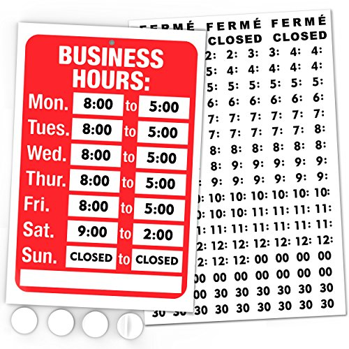 Open Signs, Business Hours Sign Kit - Bright Red and White Colors - Includes 4 Double Sided Adhesive Pads and a Black Number Sticker Set - Ideal Signs for Any Business, Store or Office