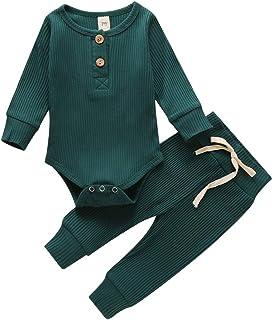 WangsCanis Neugeborene Unisex 2 Stück Baby Kleidung Junge Mädchen Solid Button Bodysuit Strampler Langarm Tops Kordelzug Hosen Strick Outfit