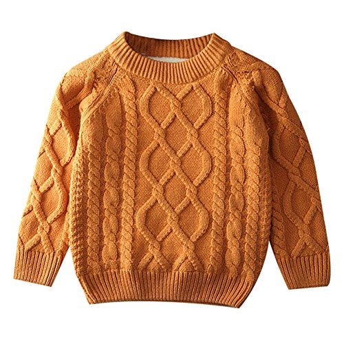 Toddler Baby Boy Girl Cable Knit Pullover Sweater Warm Sweatshirt brown 80 Brown 12 years old/80