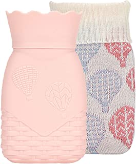 Microwave Heating Bottle Environmental Silicone Transparent Hot Water Bag with Knit Cover, Hot & Cold Therapies - Gift for Birthday, Christmas, Valentine's Day, Gift Exchange Party (Small, Pink)