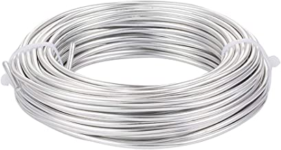 Pandahall 98 Feet Silver Aluminum Wire 7 Gauge/3.5mm Metal Craft Wire for DIY Manual Arts Jewelry Making(Silver)