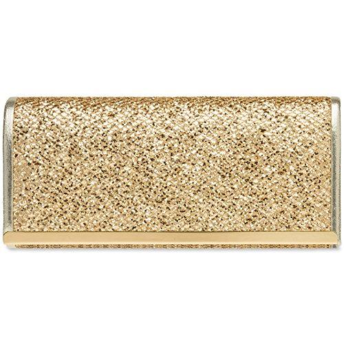 Caspar TA395 Bolso de Mano para Mujer Clutch con Estampado de Piel de Serpiente, Color:dorado, Talla:Talla Única