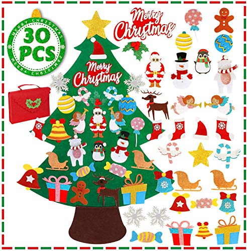 OurWarm Felt Christmas Tree - 3.5 FT DIY Felt Christmas Tree Set for Toddlers, 30Pcs Glitter Ornaments for Kids Christmas Crafts, Home Door Wall Hanging Christmas Decorations, Xmas Gifts for Kids