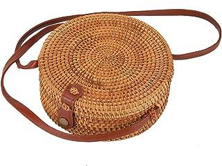 Round Rattan Boho Purse Handwoven Straw Bag Bamboo Bag