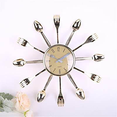 Imoerjia Living Room Creative Knife Fork Mute Wall Clock 3232Cm, Silver