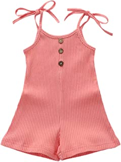 Baby Girl Solid Color Knitted Strap Sleeveless Dress with Buttons Summer Clothes