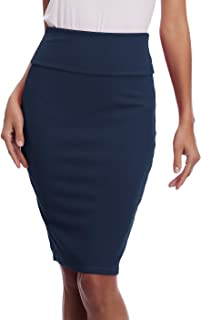 EXCHIC Women's Stretchy Bodycon Office Pencil Skirt High Waist Business Skirts