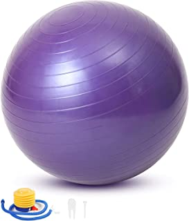 Jinara Gym Ball Exercise Ball, Anti-Burst Yoga Ball with Quick Pump, 55cm/65cm/75cm Thick Balance Ball Chair for Birthing ...