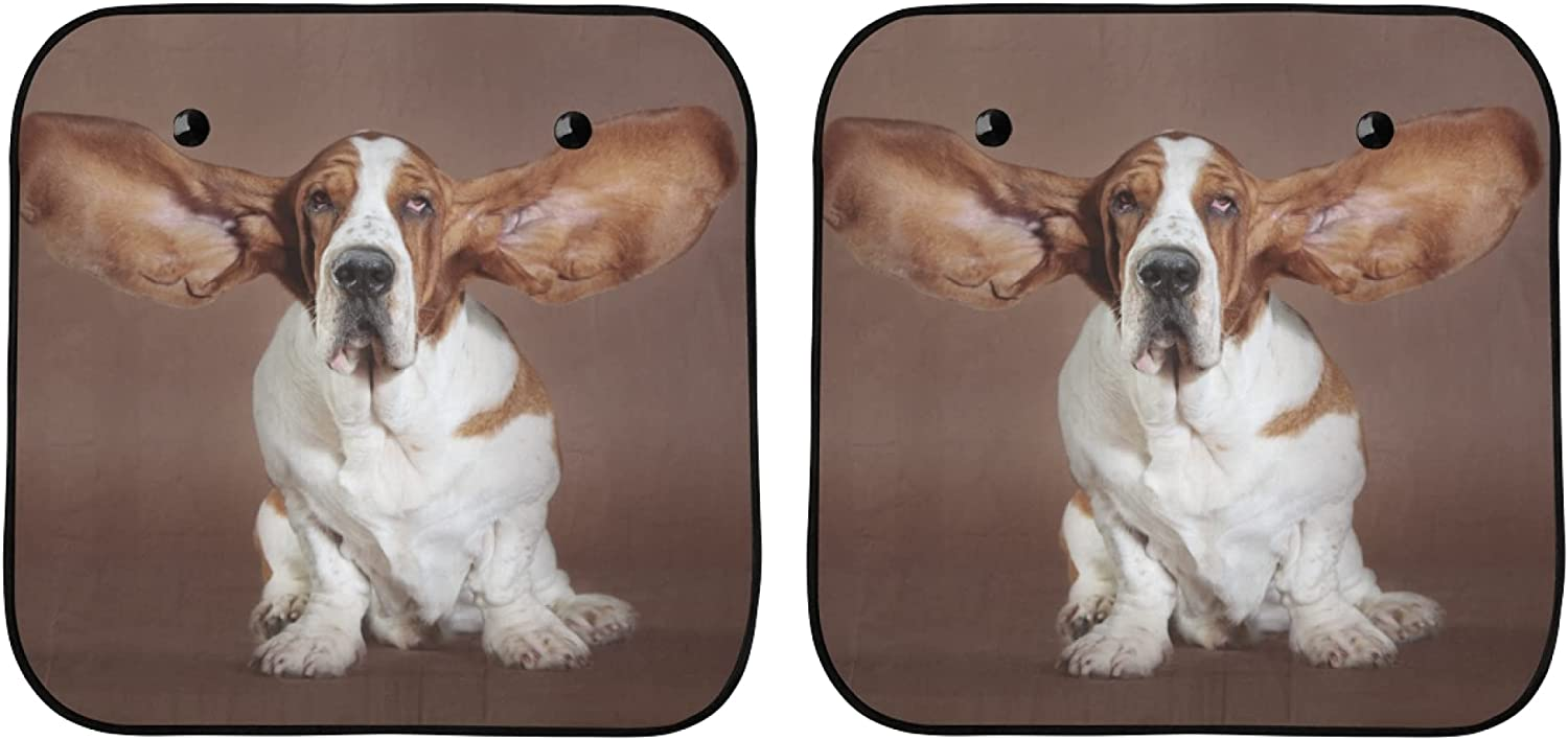 Tulsa Mall YPink Sun Shade Front Windshield Basset Stand Large discharge sale Ears Hound Flying