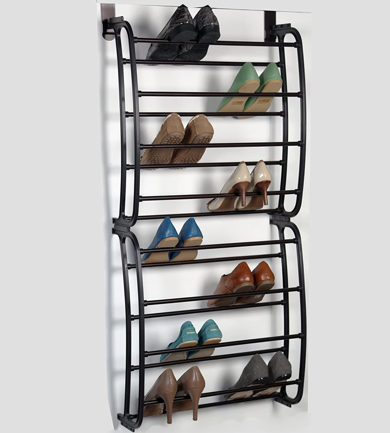 Richards Homewares 1006242 Over The Door Rack-24 Pairs-shoes Organizer Finish-Metal Tubes-No Tools Required-Easy Assembly-22.9 x 8.1 x 49, Bronze