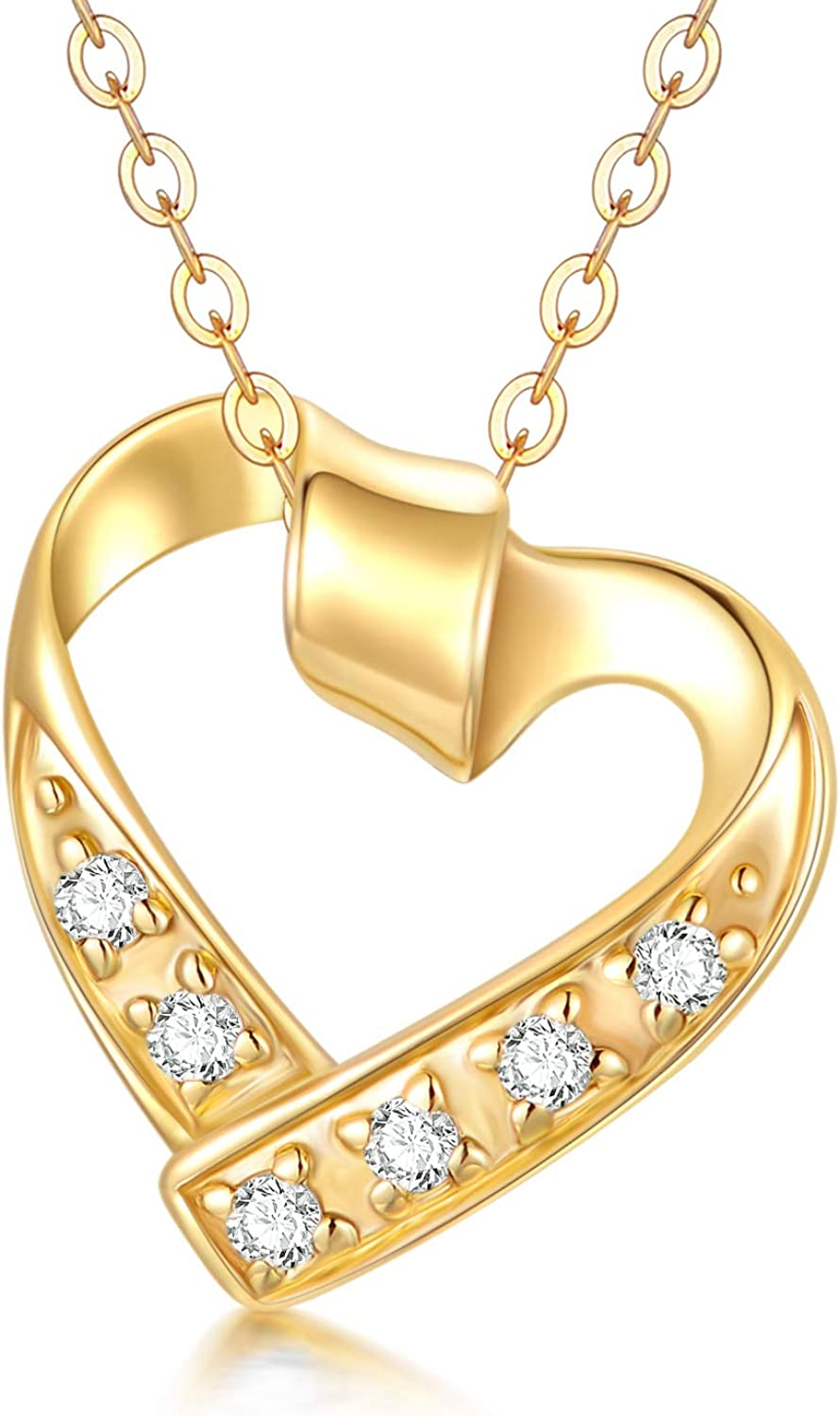 Blocaci 14K Yellow Gold Heart Pendant Necklaces for Women Girls Moissanite Pearl Necklaces Love Jewelry for Wife Daughter Mother, 16+1+1 Inch