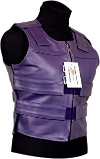 purple leather motorcycle vest
