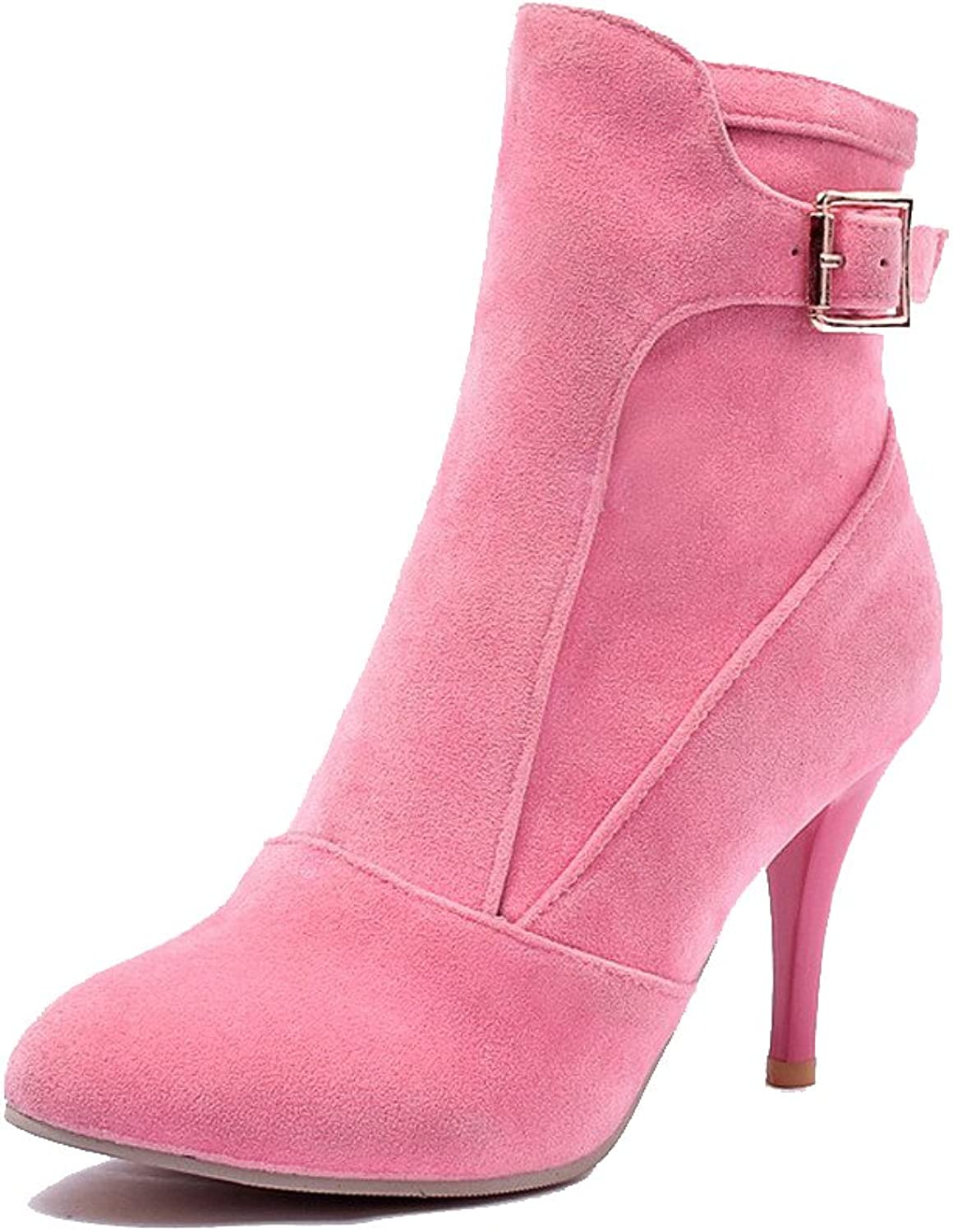 WeenFashion Women's Imitated Suede Low Top Solid Zipper High-Heels Boots