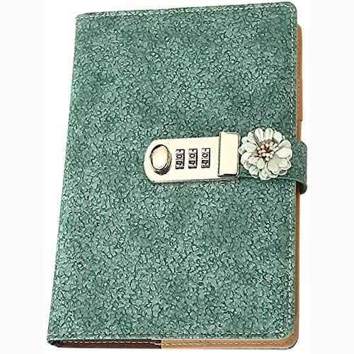 Sq PU Leather Book Re Notebook, with Lock Code Password Sketchbook Journal Planner Organizer with Flower A5 Notebook Secret Diary Sketchbook Lined Password,1