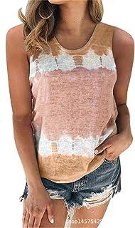 Fensajomon Women Loose Sleeveless Tie Dye Print Summer Tank Top Cami Blouse Shirt