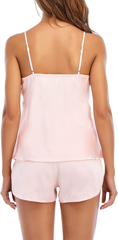Zando Womens Satin Summer Pajama Silk Sleepwear Lingerie Shorts 2 Piece Cami Pajamas Set Sexy Back Nightwear PJ Sets