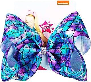 JoJo Siwa Bows, CREATESTAR Ribbon Hair Bows for Girls 8 Inch Large Hair Bow Alligator Clips Hair Accessories Mermaid Desig...