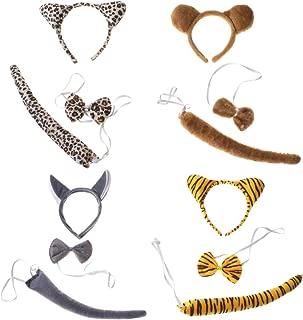 4 Sets Kids Animal Costume Set Funny Tiger Wolf Bear Leopard Ears Headband Bowtie Tail Animal Cosplay Favors