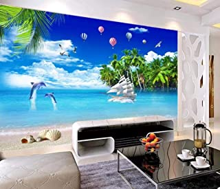 Wall Mural 3D Coconut Tree Dolphin Hot Air Balloon with Sea View Custom Wallpaper 3D Effect Large Mural Wall Murals Home Decor