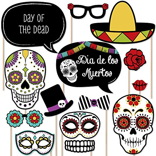 Big Dot of Happiness Day of the Dead - Halloween Sugar Skull Photo Booth Props Kit - 20 Count