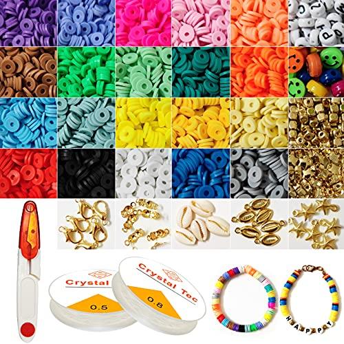 KootesDay Bricolaje Cuentas de Colores Arcilla de Joyas DIY Manualidad Juguete Abalorios Pulseras Collar Ni?os Adultas 20 colores