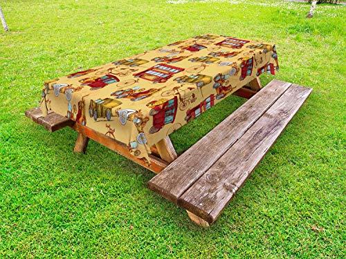 ABAKUHAUS Cars Tafelkleed voor Buitengebruik, Steampunk Vintage Vehicle, Decoratief Wasbaar Tafelkleed voor Picknicktafel, 58 x 104 cm, Mosterd Red Olive Green