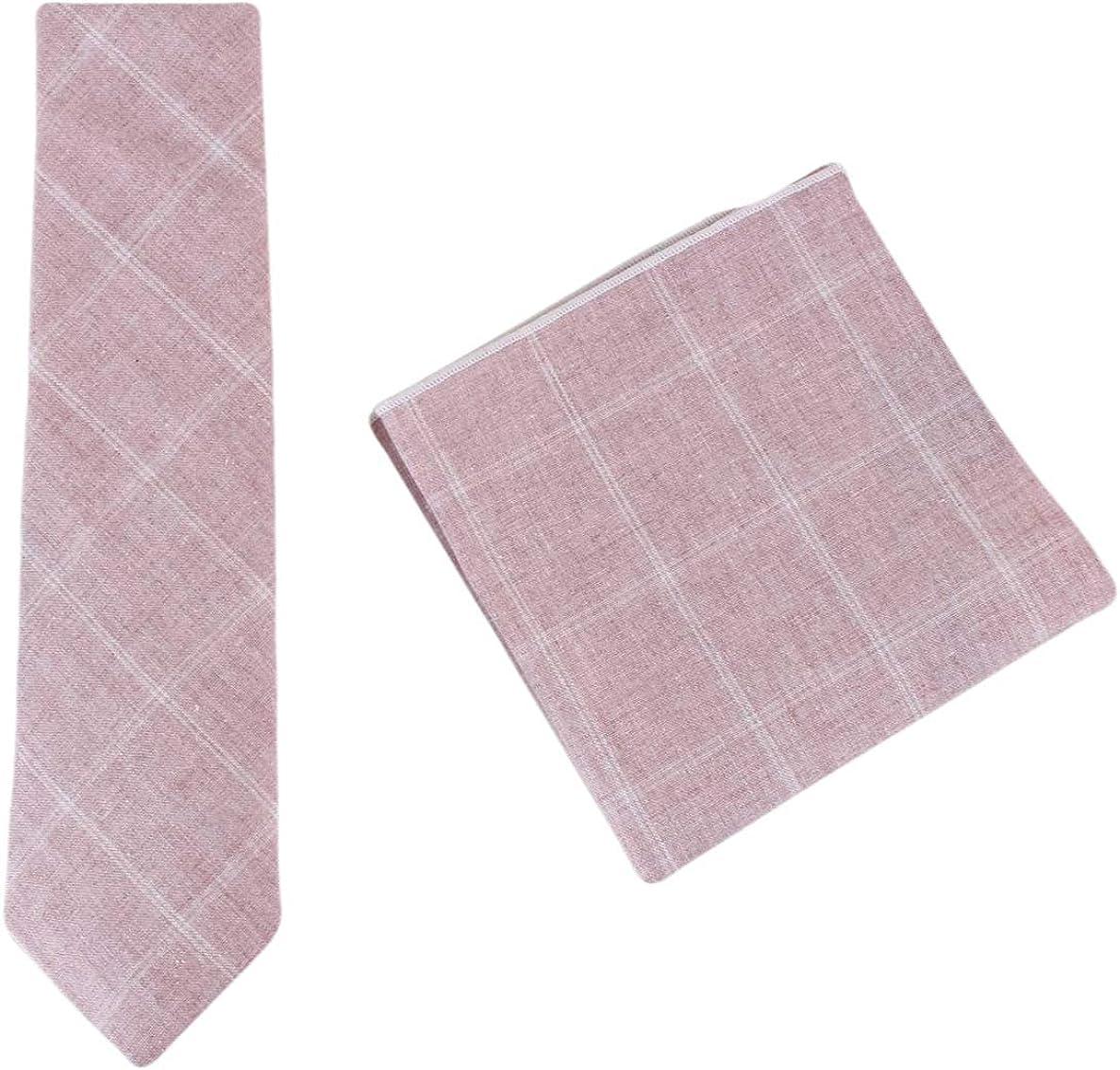 Knightsbridge Neckwear Mens Cotton Tie and Pocket Square Set - Dusk Pink