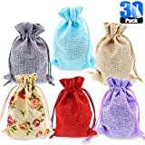 Glarks 30 Pack Rose Lace and 5 Color Burlap Bags with Drawstring Gift Bags Jewelry Pouches Sacks for Christmas Wedding Party Shower Birthday DIY Arts & Crafts Presents, 5.3 x 3.9 inches