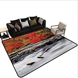 Indoor Floor mat,A Raft of Driftwood Lies by a Rushing Rocky Stream Autumn Season Forest Digital Image 6'x7',Can be Used for Floor Decoration