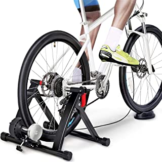 Yaheetech Magnetic Bike Trainer Stand w/ 6 Speed Level Wire Control Adjuster,Noise Reduction,Quick-Release & Front Wheel Riser Resistance Foldable Bicycle Exercise Stand for Mountain & Road Bikes