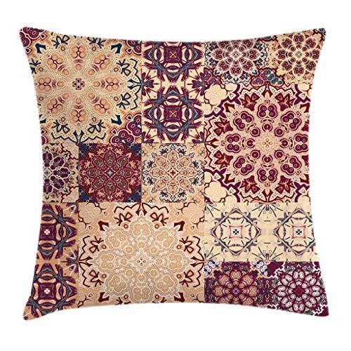 GOSMAO Funda de cojín de Almohada de Tiro Vintage, Azulejos de cerámica Tradicionales Antiguos, Estampado de Imagen marroquí Ornamental, Funda de Almohada Decorativa, Marfil Rosa de 18 x 18 Pulgadas