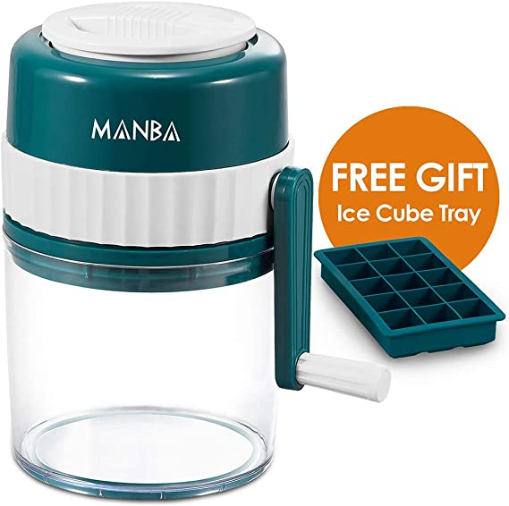 MANBA Manual Ice Shaver and Snow Cone Machine - Premium Manual Ice Crusher and Shaved Ice Machine with Free Ice Cube Trays - BPA Free