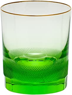 Moser Crystal Royal Gold Rim Double Old Fashion Glass Ocean Green