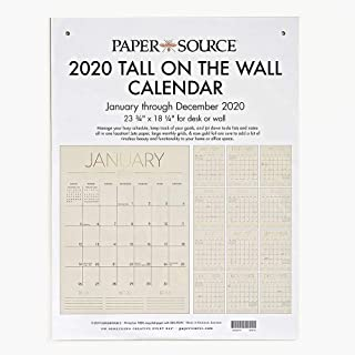 Paper Source 2020 12 Month Tall on The Wall Calendar, 23 3/4