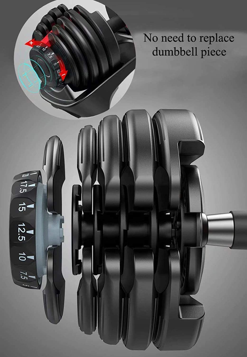 52.5Lbs YPC Single Adjustable Dumbbell,5lb-52.5lb Fast Adjust Weight Dumbbell,Training Weights Gym Equipment for Man and Women Exercise Dumbbell