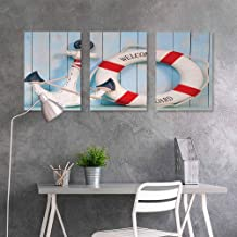 Wall Painting Prints Sticker,Buoy,Anchor Striped Life Buoy Siding Vertical on Shabby Boards Classic Style,Easy Care Oil Painting 3 Panels,24x35inchx3pcs,Red Light Blue Navy Blue