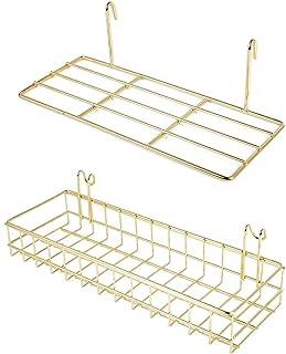 WUZILIN [Pack de 2] Estantes de metal para pared de diseño de rejilla para fotos [Bandeja, canasta grande]