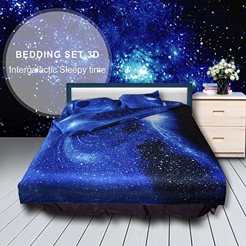 Greensha Queen Size 4pcs Space Bedding Set 3D Oil Print Galaxy 100% Cotton Comforter Quilt Cover (Included Bedlinen Duvet Cover + Flat Sheet + 2 Pillowcases) (C)