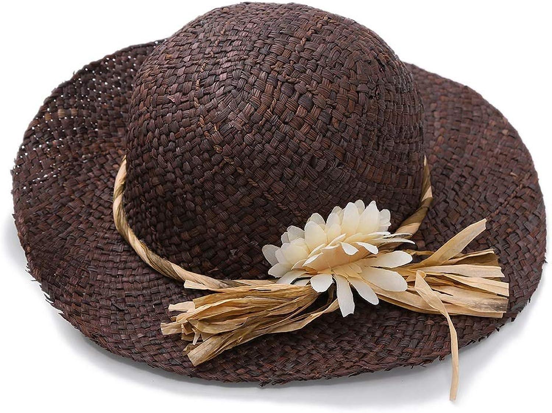 Women's Wide Brim Braided Sun Hat Women Sun Hat Straw Cap Wide Brim for Ladies Foldable Flower for Summer Beach UV Predection