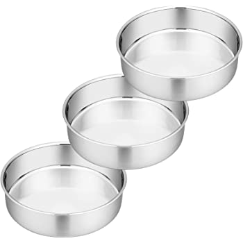 8 Inch Cake Pan Set of 3, P&P CHEF Stainless Steel Round Baking Pans Layer Cake Pans Tin Set, Fit Oven / Pots / Pressure Cooker, Non Toxic & Heavy Duty, Dishwasher Safe