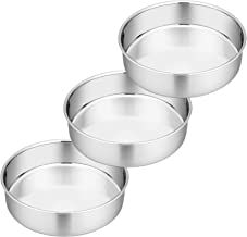 8 Inch Cake Pan Set of 3, P&P CHEF Stainless Steel Round Baking Pans Layer Cake Pans Tin Set, Fit Oven / Pots / Pressure C...