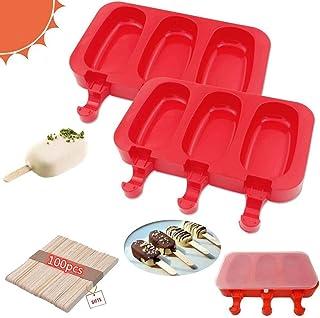 Flytoo Lot de 2 moules en silicone à 3 cavités sans BPA, avec couvercles pour enfants, gâteau/crème glacée/sucettes glacée...
