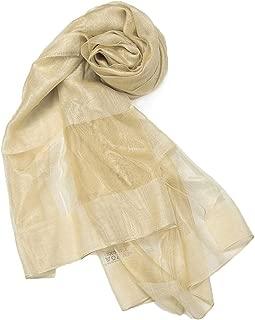 TICENTRAL レディース ファッション 冷房対策 シルク オーガンジー シフォンの柔かなストール ショール スカーフ 薄手 羽織り 200×70cm (ベージュ)