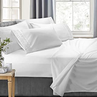 Clara Clark 6-Piece 100% Soft Brushed Microfiber Bedding Set Luxury Pleated Pillowcases, Cool & Breathable, 6 PC sheets, C...
