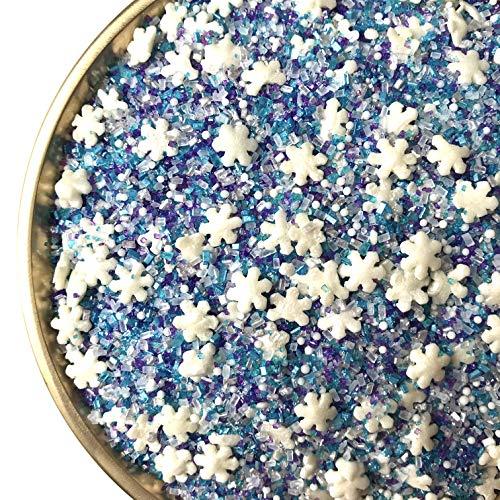 Snowflake Crystals Sanding Sugar | Sprinkles | Snowflake Sprinkles | Blue Sugar | Blue Sprinkles | Cookie Sprinkles | Manvscakes | 8 Ounces