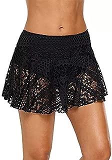 MALLCAS-swimwear Women's Lace Crochet Skirted Bikini Bottom Swimsuit Short Skort Swim Skirt Mallcat Seaside Holiday Openwork Short Skirt