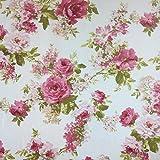 Weiß Rose Garden Baumwolle Rich Leinen Look Stoff für