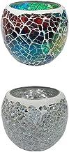 F Fityle 2X Colorful Mosaic Glass Candle Holder Votive Tea Light Holder Succulent Pot